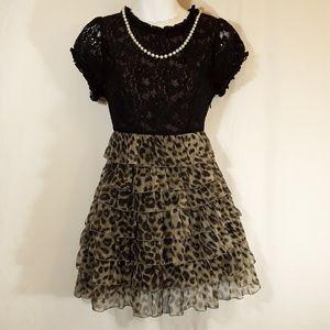 Black Lace & Leopard Print Tiered Dress
